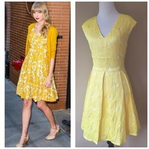 NWT I. Madeline Yellow Brocade Fit Flare Dress M
